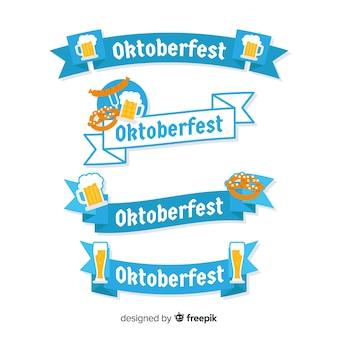 Klassischer satz oktoberfest-band mit flachem design