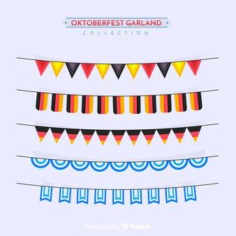 Klassischer satz von oktoberfest girlanden mit flachem design