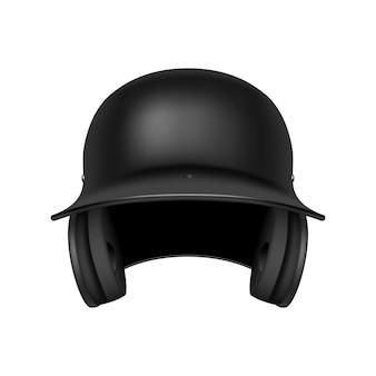 Klassischer schwarzer baseballhelm. vorderansicht. auf weißem hintergrund isoliert. illustration.