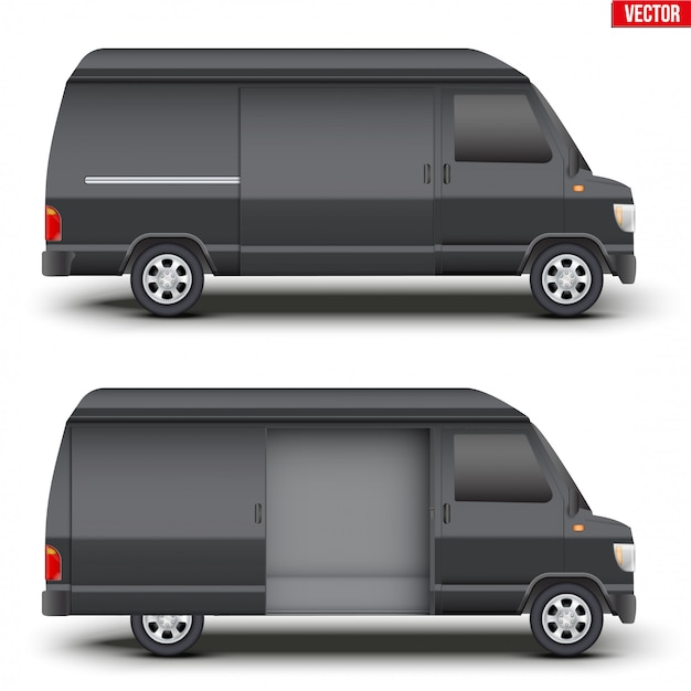 Klassischer schwarzer kleinbus