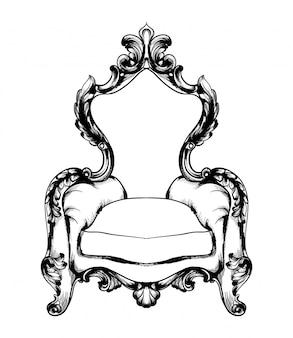 Klassischer sessel im königlichen stil