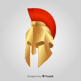 Klassischer spartanischer helm mit flacher bauform