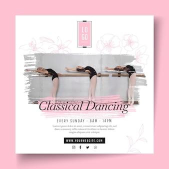 Klassischer tanzender quadratischer flyer-vorlage