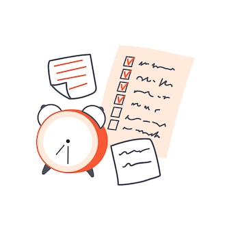 Klassischer wecker und notizzettel checkliste und memoaufkleber konzept der verwaltung und planung