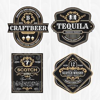 Klassischer weinleserahmen für whiskyaufkleber und antikes produkt