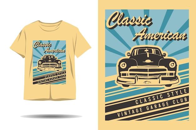 Klassisches amerikanisches vintage-garage-club-silhouette-t-shirt-design im klassischen stil