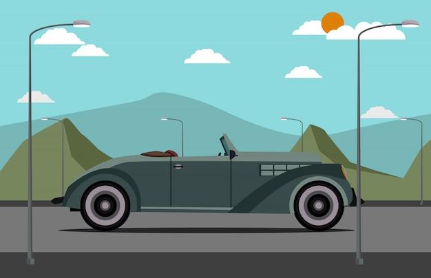 Klassisches auto der flachen art auf der straße mit naturszene