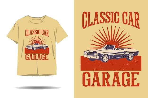 Klassisches auto garage silhouette t-shirt design