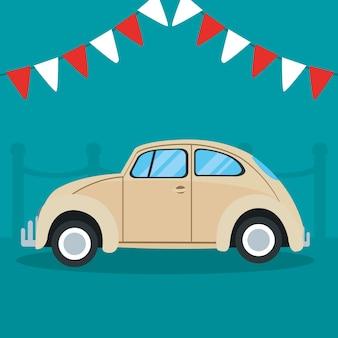 Klassisches auto und dekorative wimpel über türkisfarbenem hintergrund, buntes design