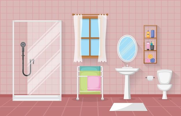 Klassisches badezimmer-innenreinraum-hölzernes akzent-möbel-flaches design