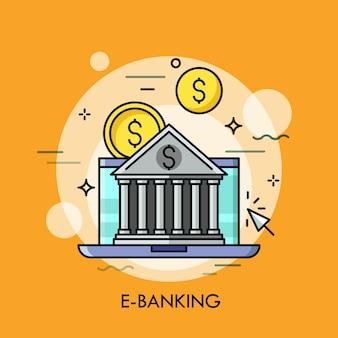 Klassisches bankgebäude gegen laptop-bildschirm und dollarmünzen auf hintergrund. e-banking, online-anwendung für das konzept des elektronischen zahlungsverkehrs