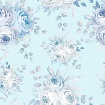 Klassisches blaues nahtloses blumenmuster-design