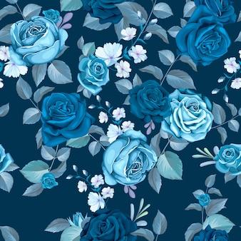 Klassisches blaues nahtloses muster mit blumen