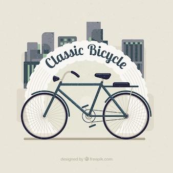 Klassisches fahrrad auf einem stadthintergrund