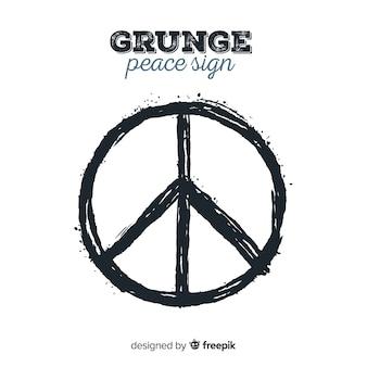 Klassisches friedenssymbol mit grunge art