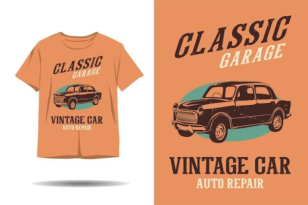 Klassisches garagen-oldtimer-autoreparatur-silhouette-t-shirt-design