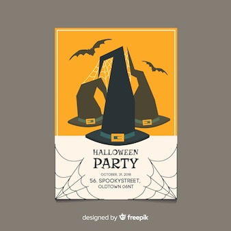 Klassisches halloween-partyplakat mit flachem design
