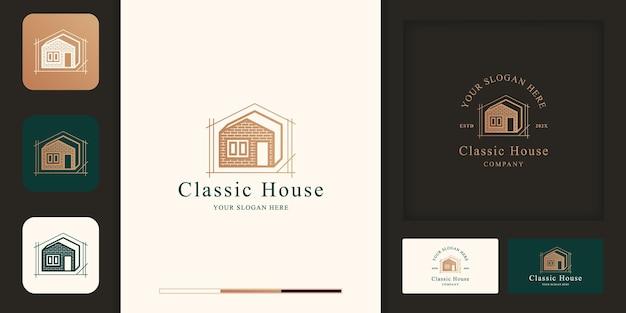Klassisches hausdesign-logo mit ziegeln und visitenkarte Premium Vektoren