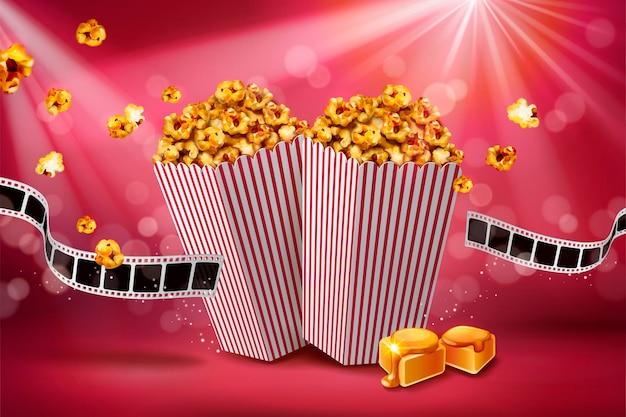 Klassisches karamell-popcorn-banner mit filmrolle auf bokeh rotem hintergrund, 3d illustration