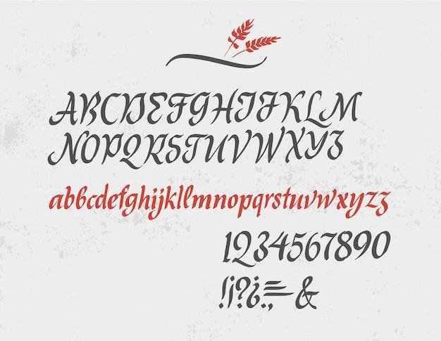 Klassisches kursives alphabet mit zahlen und interpunktionen