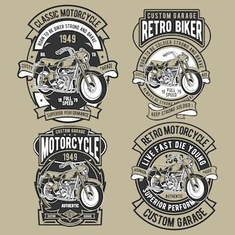 Klassisches motorrad abzeichen set