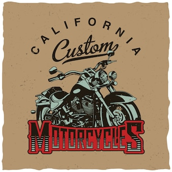 Klassisches motorrad-design für t-shirt-druck