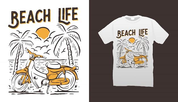 Klassisches motorrad- und strand-t-shirt-design