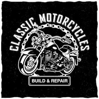 Klassisches motorradetikett