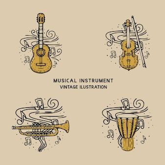 Klassisches musikinstrument gitarre, trommel, trompete und violine vintage illustration
