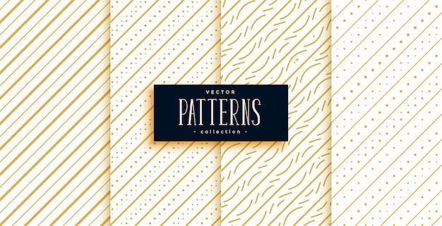 Klassisches musterset mit goldenen diagonalen linien