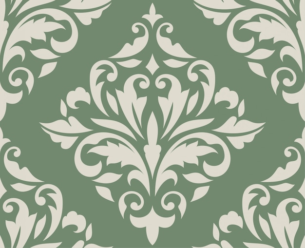 Klassisches nahtloses damast-muster auf grün