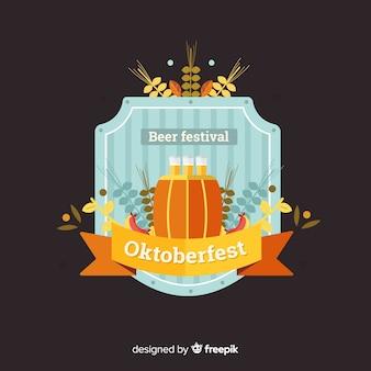 Klassisches oktoberfest-abzeichen mit flachem design