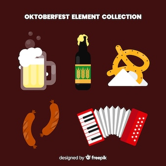 Klassisches oktoberfest element collecton mit flachem design