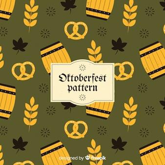 Klassisches oktoberfest-muster mit flachem design