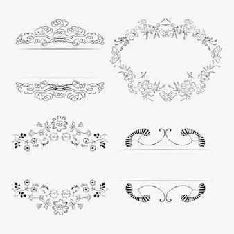 Klassisches ornamentrahmen-set