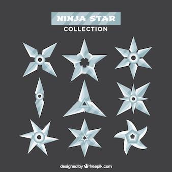 Klassisches pack von ninja-sternen mit flachem design