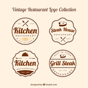 Klassisches paket von retro-restaurant-logos