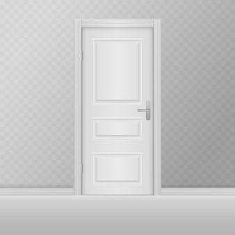 Klassisches raumkonzept holzaußeneingang offene und geschlossene realistische tür des hauses