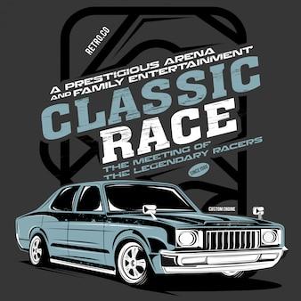 Klassisches rennen, illustration eines klassischen schnellen autos