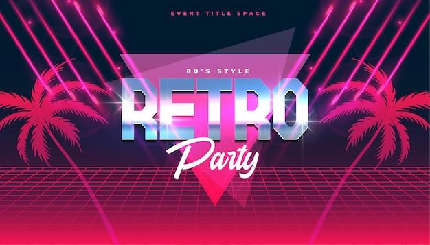 Klassisches retro-musik-party-flyer-banner mit tropischer palme