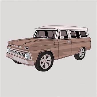 Klassisches retro- weinleseauto karikaturillustration chevrolets