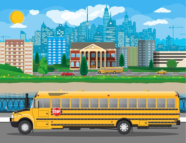 Klassisches schulgebäude und stadtbild. backsteinfassade mit uhren. öffentliche bildungseinrichtung und bus. college- oder universitätsorganisation. baum, wolken, sonne.