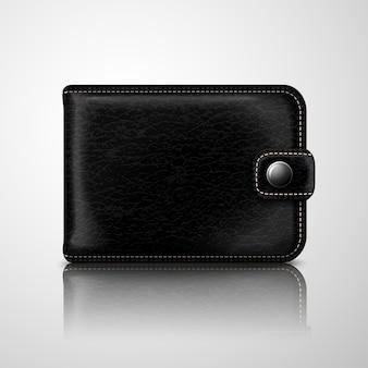 Klassisches schwarzes brieftaschenleder texturiert