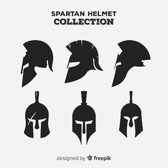 Klassisches set aus spartanischem helm mit flacher bauform