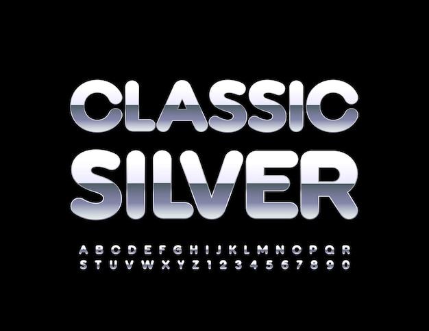 Klassisches silber-alphabet-set reflektierende metallic-schriftart glänzendes chrom buchstaben- und zahlenset