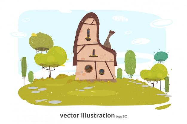 Klassisches strohbedecktes traditionelles weinlesehaus