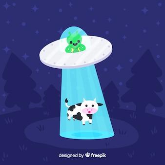Klassisches ufo abduktionskonzept mit flachem design