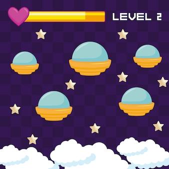 Klassisches videospiel ufos fliegen