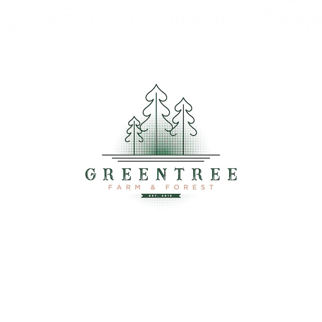 Klassisches vintages grünes baum logo mit baum-und halbtonhintergrund für bauernhof u. botanisches logo