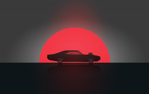 Klassisches weinlese-amerikanisches seitenansicht-muskel-auto im sonnenuntergang-schattenbild. . plakat vorlage.
